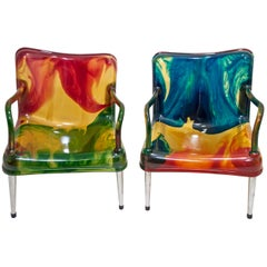 "Pair of Pepe Tanzi Postmodern Italian Resin Armchairs ""Chaos"" for Biesse, 1990s"