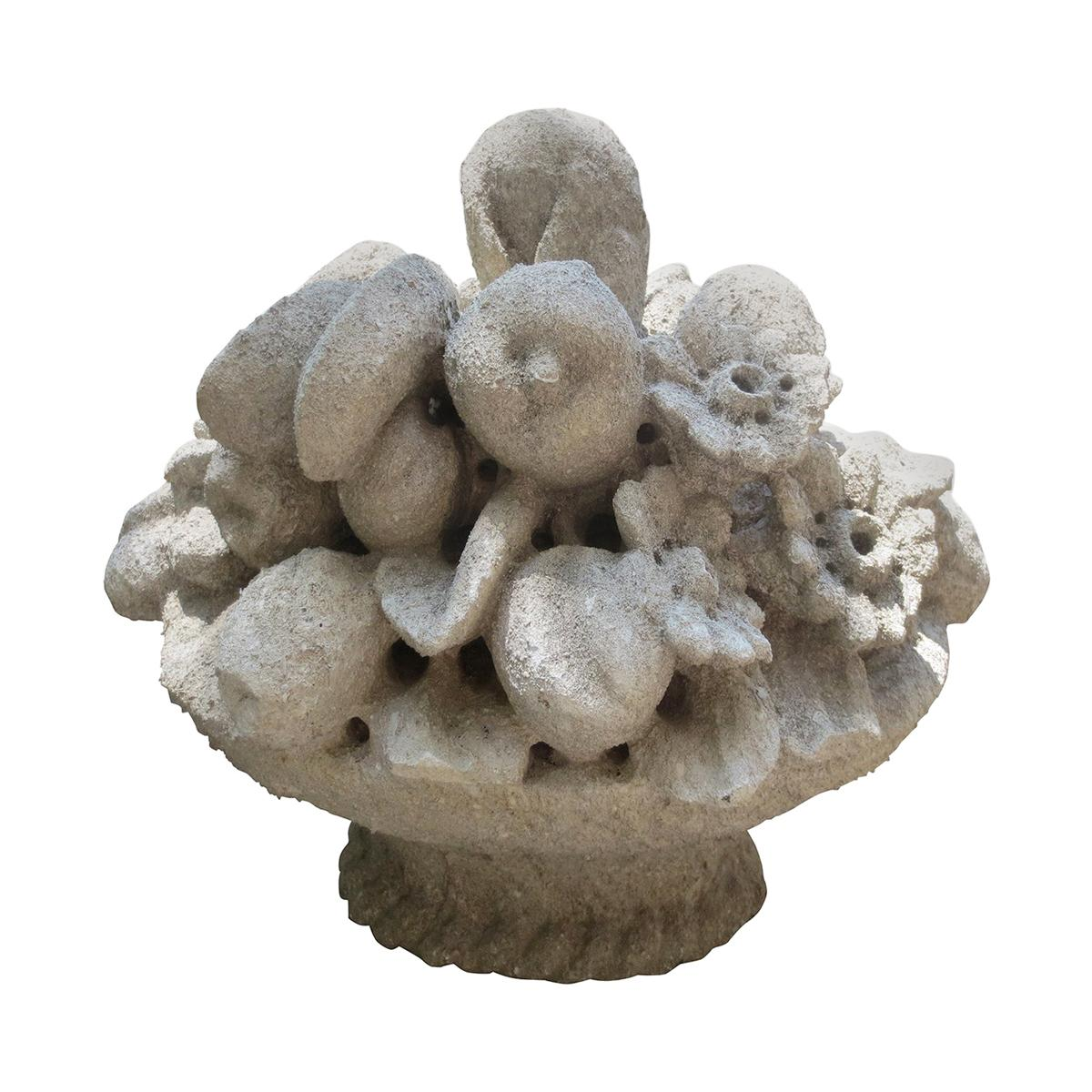 20th Century Carved Stone Fruit Basket