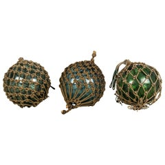 Set of 3 Glass Japanese Fishing Net Floats
