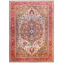 """Large Jewel Tone Antique Persian Heriz Serapi Carpet. Size: 12' 6"""" x 17' 6"""""""