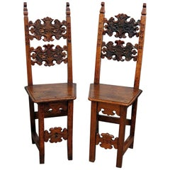 Pair of Antique Italian Provincial Carved Walnut Side Chairs
