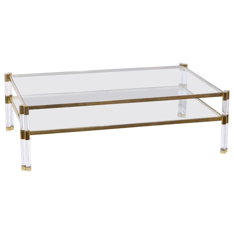 Large English Rectangular Low Glass Coffee Table Of Lucite And