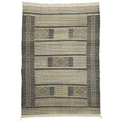 Vintage Moroccan Zemmour Berber Kilim Area Rug with Modern Tribal Style