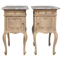 Pair of 19th Century Liegoise Stripped Oak Marble Top Nightstands