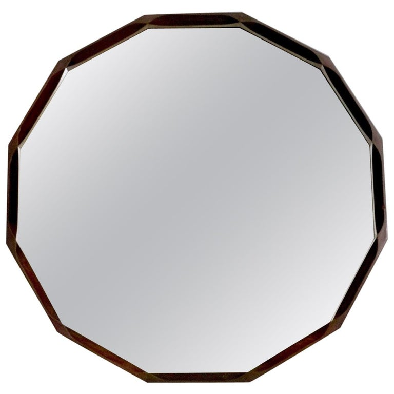 Midcentury Dodecagonal Solid Mahogany Wall Mirror by Dino Cavalli, Italy 1970s For Sale