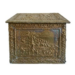 18th-19th Century Wooden Box with Brass Repoussé