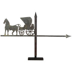 Early 20th Century Folky Horse and Carriage Weathervane