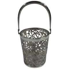 Japanese Silver Ice Bucket with Pretty Flowers