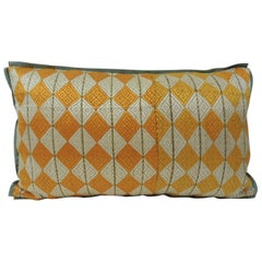"19th Century Yellow and Green ""Phulkari"" Artisanal Decorative Lumbar Pillow"
