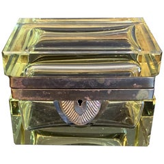 Rare Mid-Century Modern French Yellow Crystal Glass Ormolu Bronze Casket Box