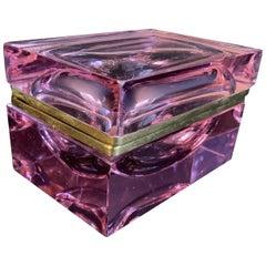Rare Mid-Century Modern French Amethyst Crystal Glass Ormolu Bronze Casket Box
