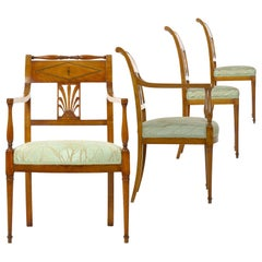 Belgian Empire Carved Fruitwood Set of Four Chairs by Jean-Joseph Chapuis