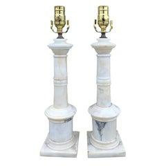 Pair of Italian White Marble Column Table Lamps, circa 1950s