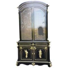 Unique Rare Napoleon III Boulle Large Cabinet Bookcase,  France 1860