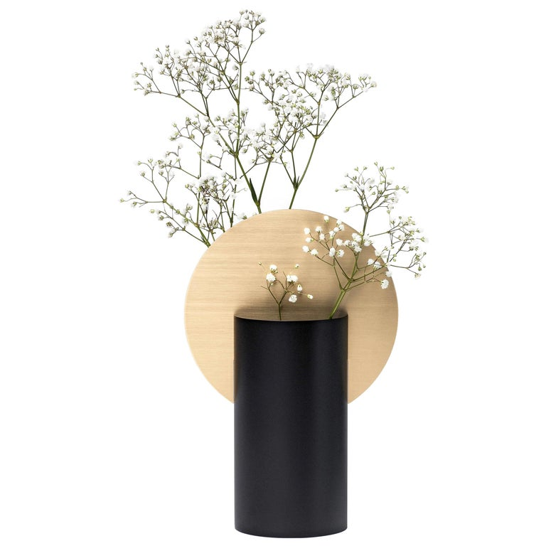 Modern Malevich Vase CS2 by Noom in Brass and Painted Steel For Sale