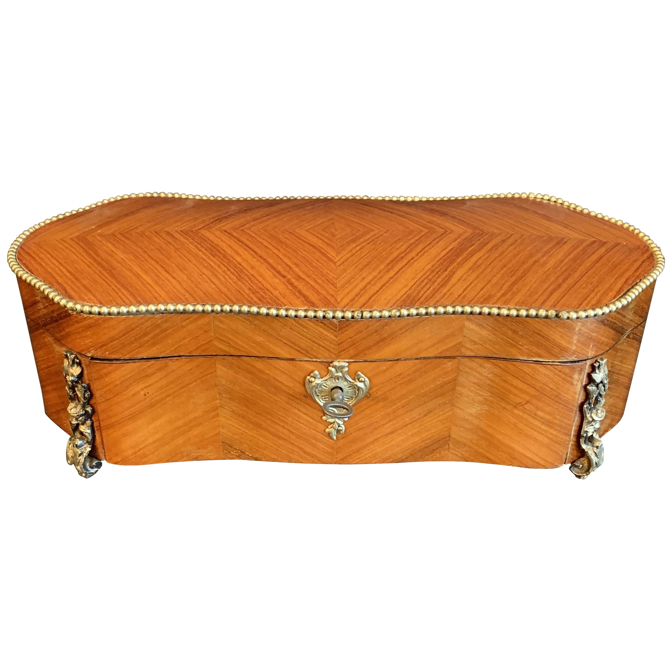 Wonderful French Ormolu Bronze Book Matched Fruitwood Marquetry Casket Box Key