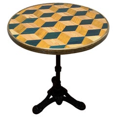 Midcentury French Inlaid Pedestal Table