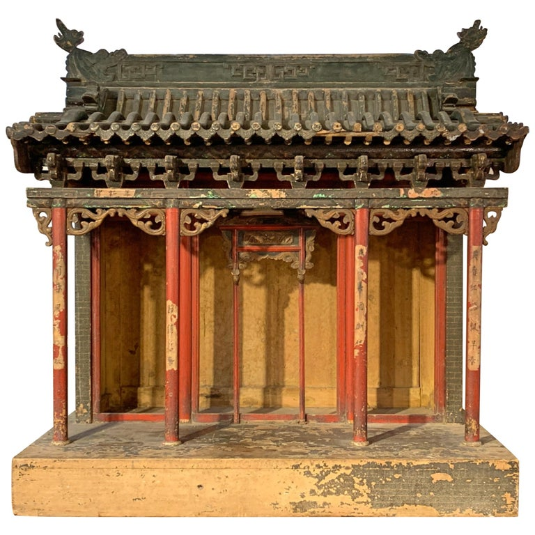 Large Chinese Ancestral Hall Architectural Model, Qing Dynasty, 18th Century For Sale