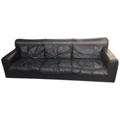 Mid-Century Modern by Otto Zapf for Knoll Three-Seat Black Leather Sofa, 1970