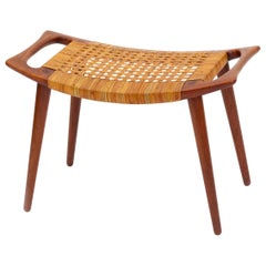 Oak and Cane Bench by Hans Wegner