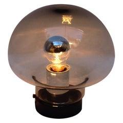 Midcentury Space Age Mushroom Smoked Glass Table Lamp, Peill & Putzler, 1960s
