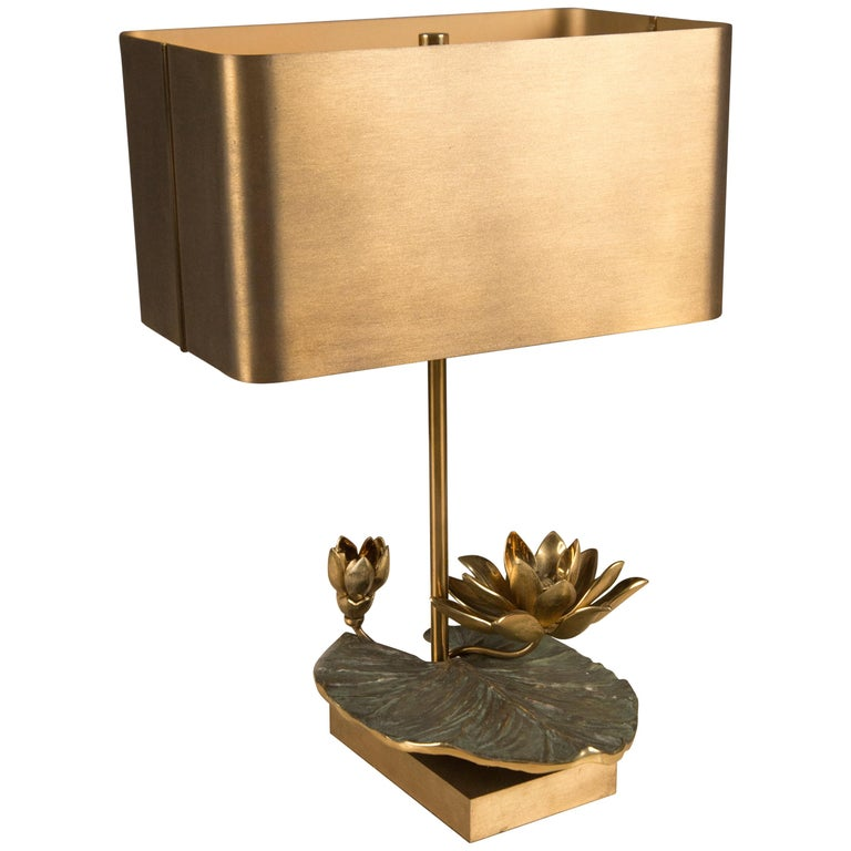 Brass Table Lamp by Maison Charles, France, circa 1970 For Sale