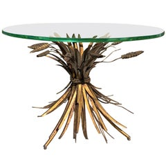 20th Century Italian Sheaf of Wheat Gilt Metal Drinks Table, Glass Top