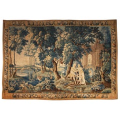 Louis XIV Style Antique French Aubusson Verdure Tapestry, Venus and Adonis