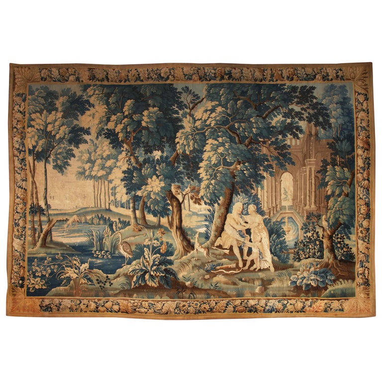 Louis XIV Style Antique French Aubusson Verdure Tapestry, Venus and Adonis For Sale