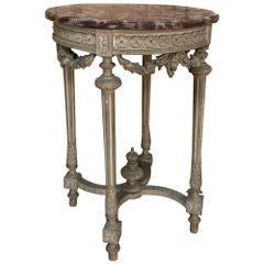 19th Century French Louis XVI Painted Marble-Top Lamp Table or Gueridon