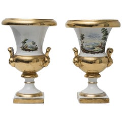 Pair of Porcelain Vases, Medicean Style, Italian Manufacture, 19th Century