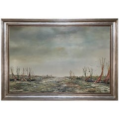 Midcentury Framed Oil Painting on Canvas by Rik Versonnen
