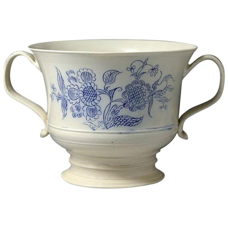 Scratch Blue Saltglaze Loving Cup Made in Staffordshire Mid-18th Century Period For Sale