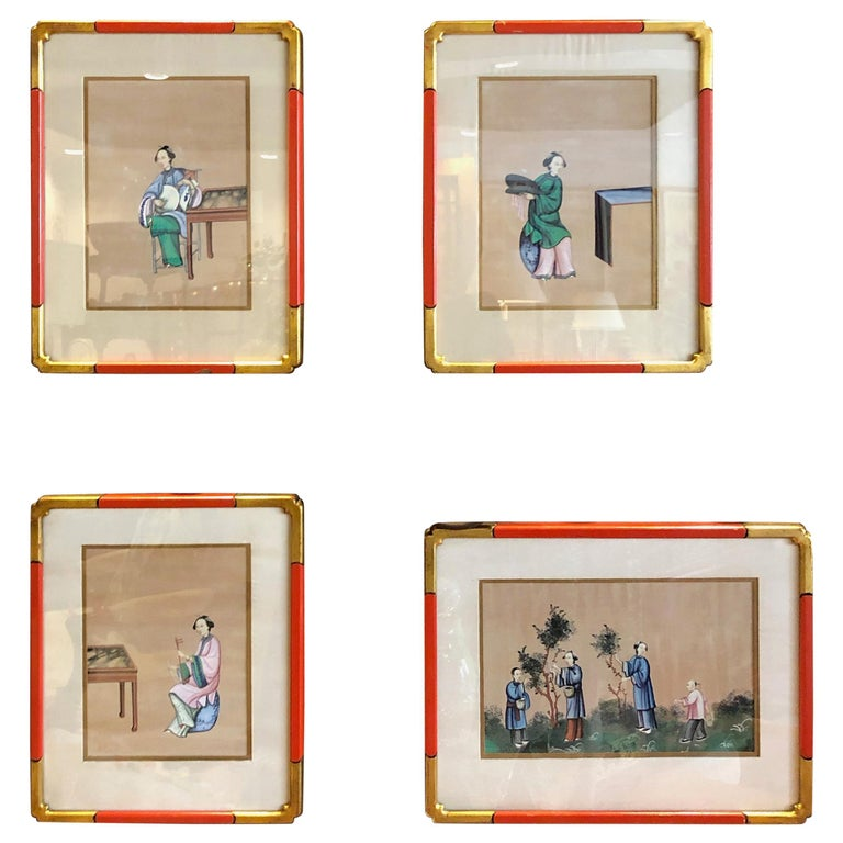 Four '4' Chinese Export Paintings For Sale