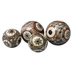 Antique Agateware Earthenware Decorative Balls Four in Total, 18th Century
