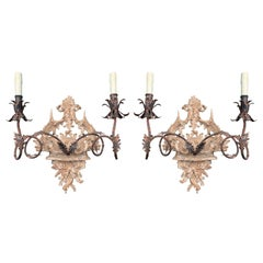 Pair of 20th Century Italian Wooden Two-Arm Sconces