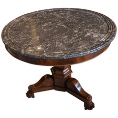 French Table Style of Charles X Gray Mottled Marble Top