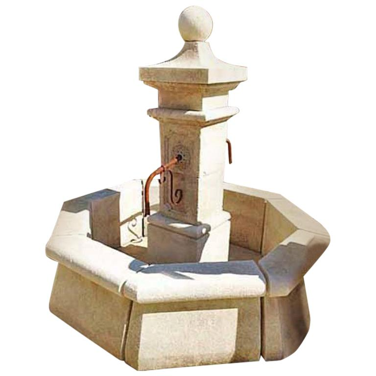 Hand Carved Limestone Central Fountain For Sale