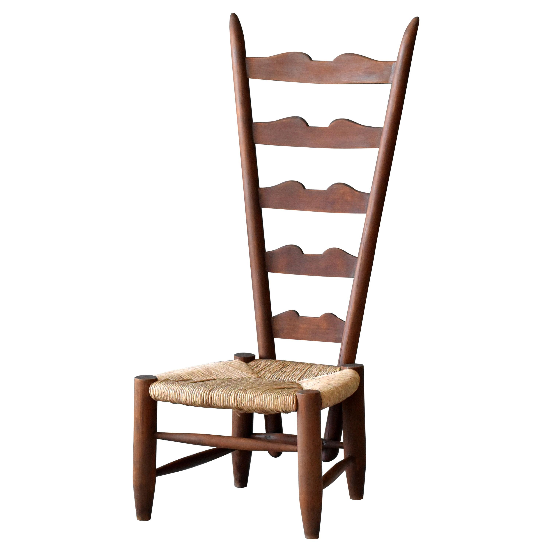 Gio Ponti, Ladderback Chair, Walnut, Rush Seat, Casa E Giardino, Italy