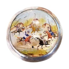 19 Century Indo-Persian Pill Box Featuring a Polo Game
