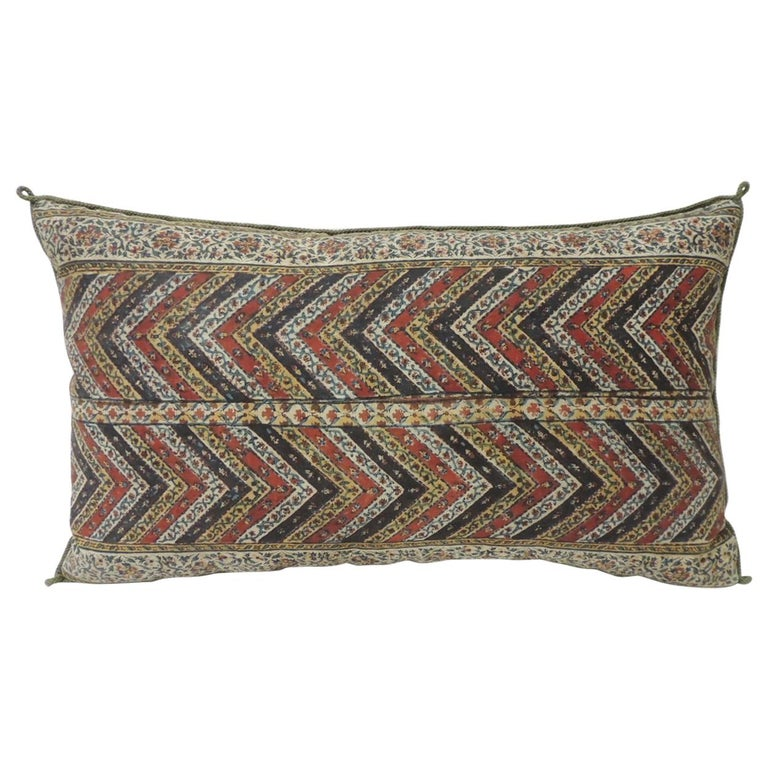 Vintage Indian Red and Gold Long Decorative Lumbar Pillow with Rope Trim For Sale