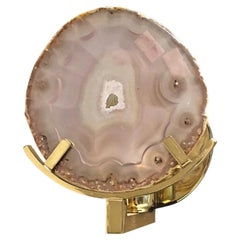 Unique Brass and Agate Stone Sconce