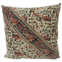 Vintage Persian Hand-Blocked Kalamkari Square Throw Pillow