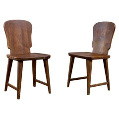 Rare Set of 6 Swedish Pine Chairs, 1940s