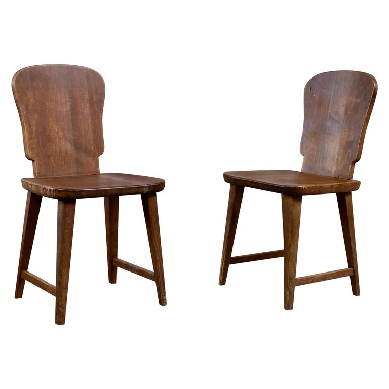 Rare Set of 6 Swedish Pine Chairs, 1940s For Sale