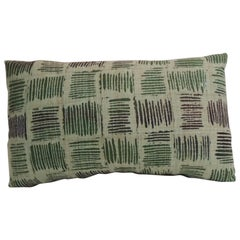 Vintage Hand Blocked Green and Brown Decorative Lumbar Pillow