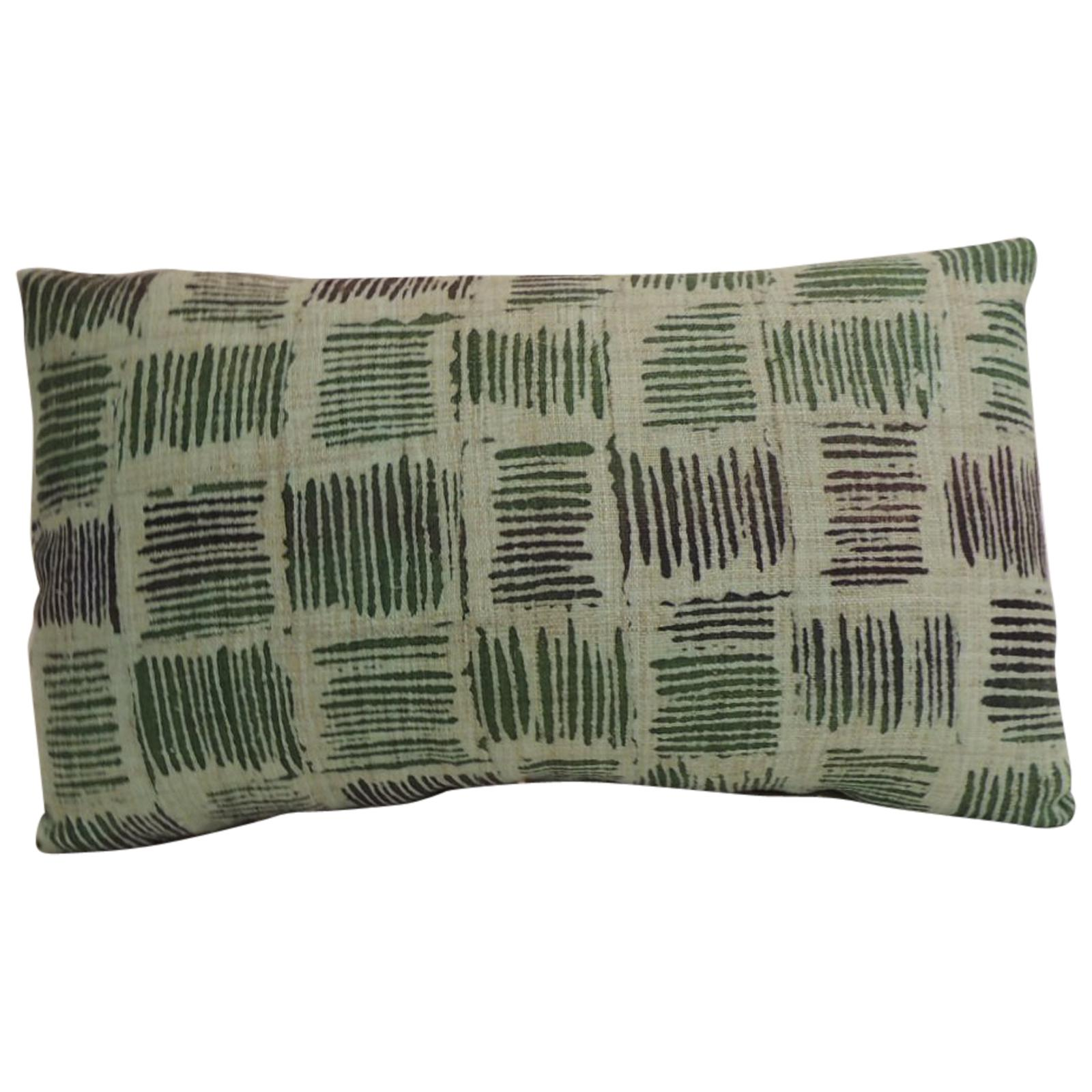 Vintage Hand Blocked Green and Black Decorative Lumbar Pillow