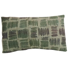 Vintage Hand Blocked Green and Black Decorative Lumbar Pillow