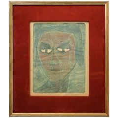 "Modernist Don Shoemaker ""El Rostro"" Signed Color Etching Limited Edition of 22"