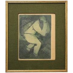 """Modernist Don Shoemaker """"El Cargador"""" Signed Color Etching Limited Edition of 22"""